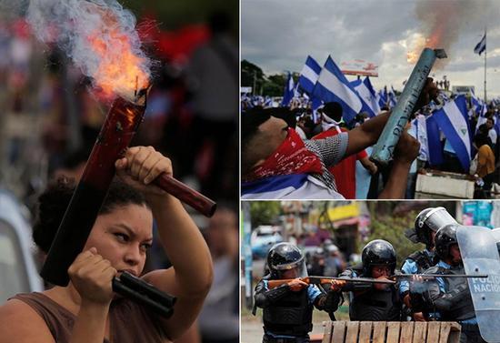 尼加拉瓜反抗者持续用自制火铳与军警对峙(推特)