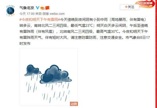 北京8日傍晚到夜间阴有小到中雨 局地暴雨伴有雷电