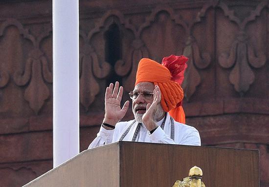 當地時間2018年8月15日,印度新德裡,印度總理莫迪在獨立日慶祝活動上講話。 視覺中國 圖