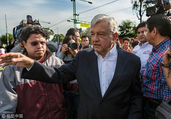 墨西哥左翼候选人奥布拉多尔@视觉中国