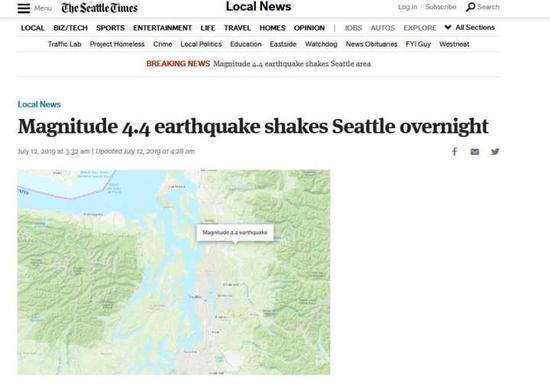 《西雅图时报》报道截图