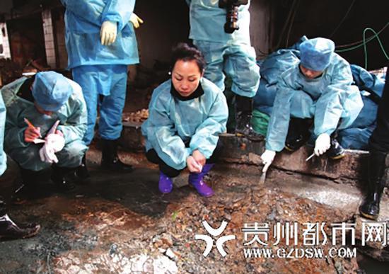 石蓉在一爆炸案现场勘查。贵州都市网 图