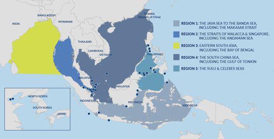 被海盗袭击的亚洲地区海域