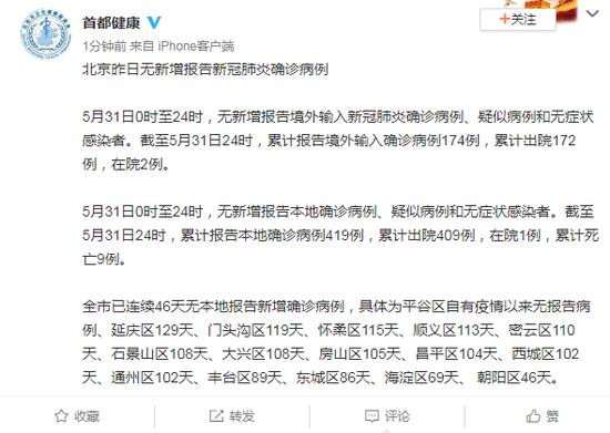 北京5月31日无新增报告新冠肺炎确诊病例图片