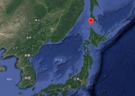 红色标记处为宗谷海峡 图谷歌地图
