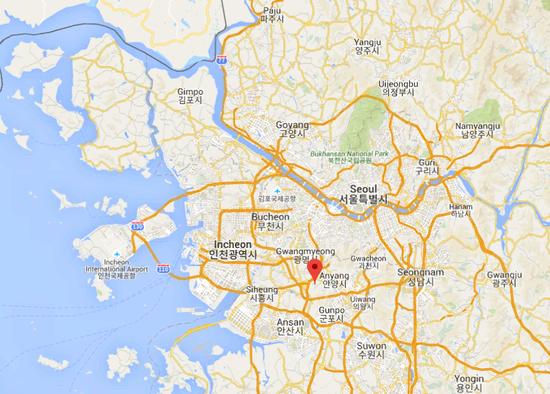 事发的安养市就位于首尔以南