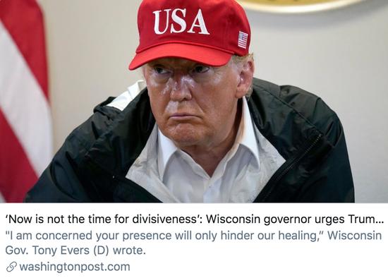 """威斯康星州州长敦促特朗普不要访问基诺沙,并称""""现在不是分裂的时候""""。/《华盛顿邮报》报道截图"""