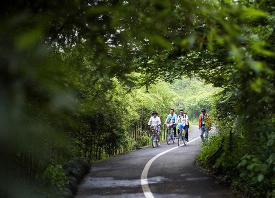 浙江仙居永安溪畔,人们体验绿道骑行生态旅游项目。视觉中国 资料