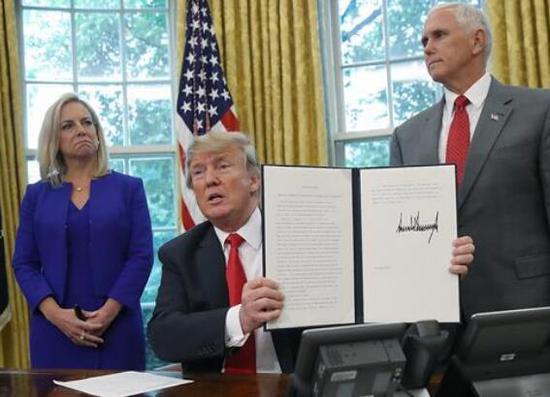 特朗普签署行政令,结束了非法入境者与未成年子女被强制分离的政策