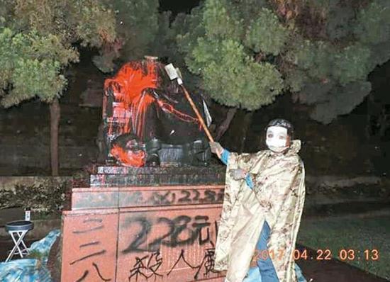 蒋介石铜像被砍(来源:联合新闻网)