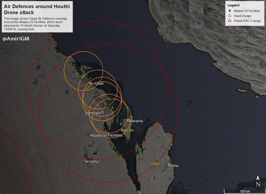 """实际上,沙特在北方一直部署有""""爱国者-2""""防空系统,防御伊朗 图源:社交媒体"""