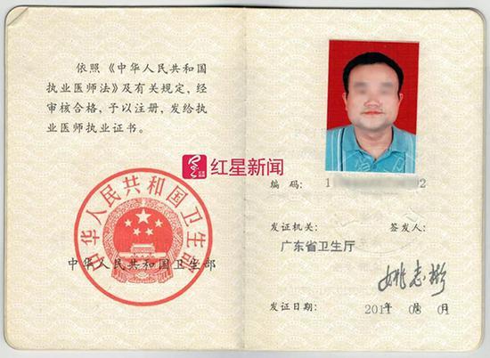 谭秦东的医生执业证书