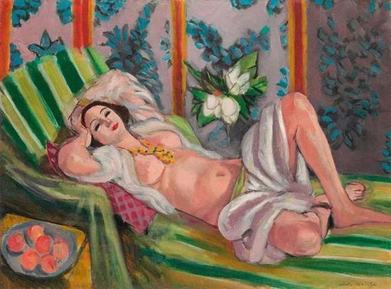 马蒂斯,《侧卧的宫娥与玉兰花》,1923年作于尼斯,成交价格:80,750,000美元