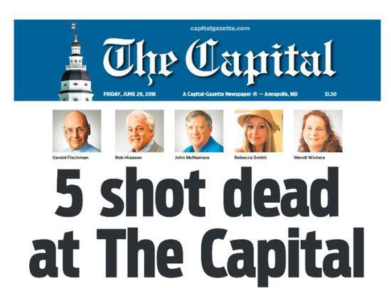 ▲当地时间29日出版的《首府公报》头版为该起枪击案的专题报道