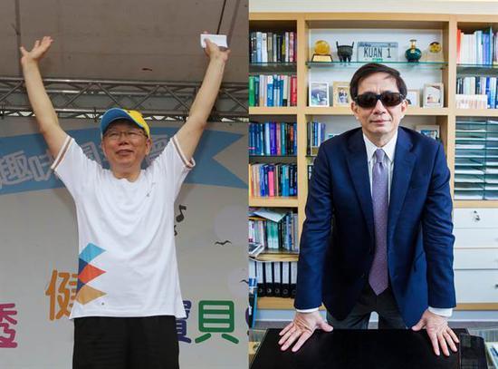 左为台北市长柯文哲,右为管中闵。(图片来源:台湾《中时电子报》)