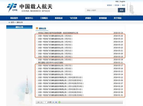 中国载人航天工程官方网站关于天宫一号轨道状态公告截图。