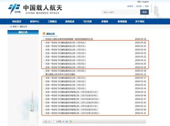▲中国载人航天工程官方网站关于天宫一号轨道状态公告截图。