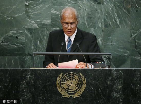 當地時間2015年9月26日,湯加首相波希瓦在紐約參加2015年聯合國可持續發展峯會。圖/視覺中國