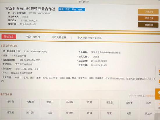国家企业信用信息公示系统关于宣汉县五马山种养殖专业合作社的信息截图。本文图片澎湃新闻记者 陈凯姿 图
