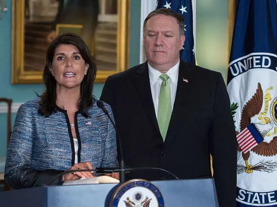 6月19日,在美国华盛顿,美国常驻联合国代表黑莉对媒体发表讲话。新华社/法新