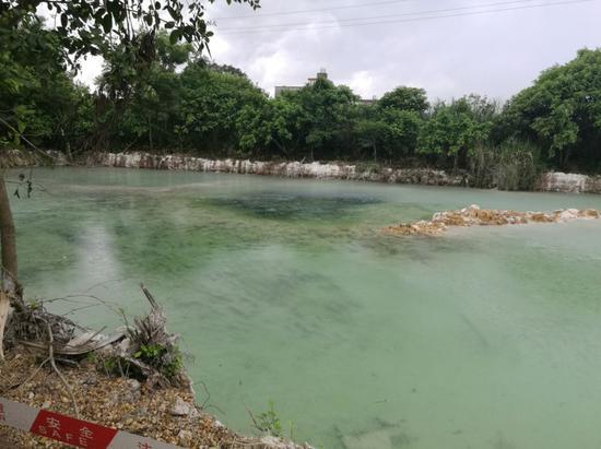 图8 河西街道三丰村鱼塘清理电镀污泥后留下蓝色积水