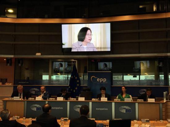 """蔡英文讲话的视频在欧洲议会播放(""""中央社"""")"""