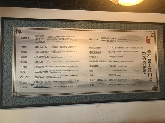 圭石堂中医价格表。