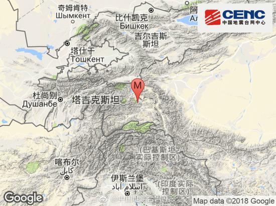 塔吉克斯坦发生3.9级地震 震源深度127千米