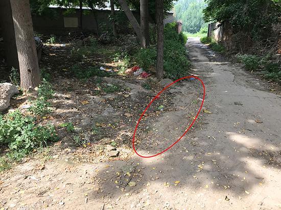 刘凤仙倒在家门口的路口。