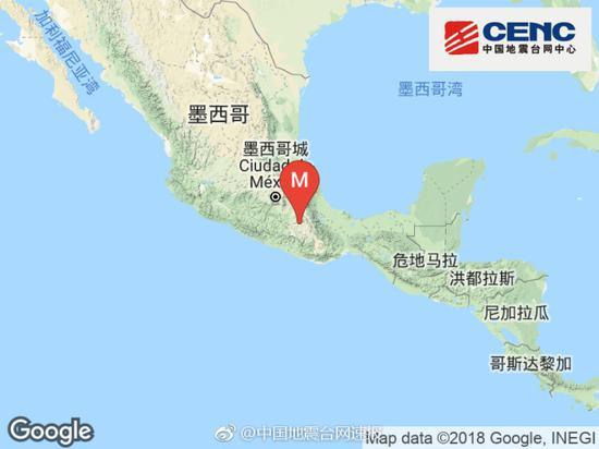 墨西哥发生5.5级地震震源深度50千米