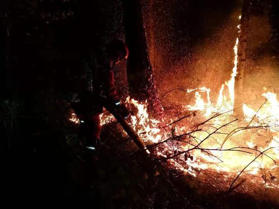 森林消防員正在大興安嶺救火。 應急管理部森林消防局供圖