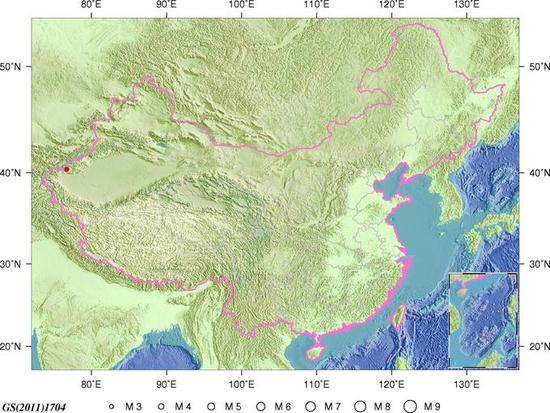 新疆阿图什市发生3.3级地震 震源深度7千米