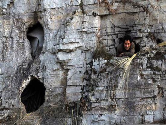 """入住山洞的苏姓老人被当地村民称为""""苏悟空""""。本文图均来源:阿鲁阿布"""