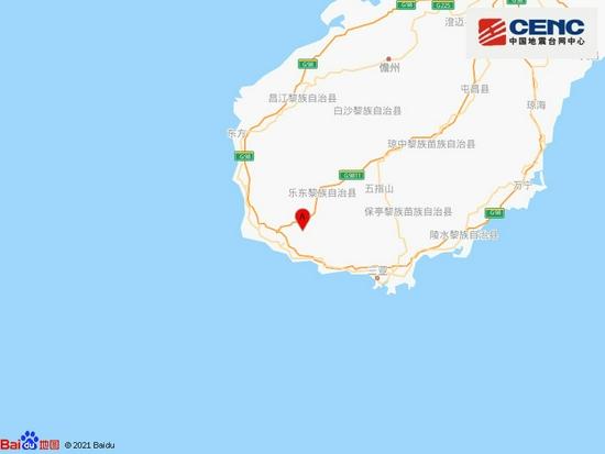 海南乐东县附近发生3.2级左右地震