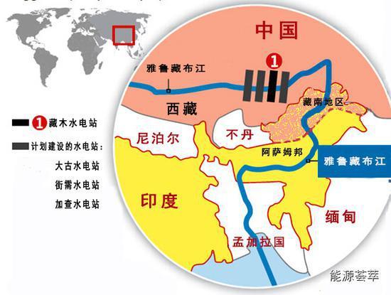 雅鲁藏布江藏木附近水电站示意图