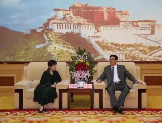 6月15日下午,西藏自治区党委书记吴英杰在拉萨与中国国民党前主席洪秀柱一行座谈。 西藏日报 图