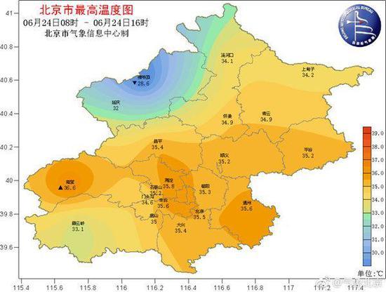 昨天,北京大部地区最高气温达到了35℃以上。图片来源:@气象北京