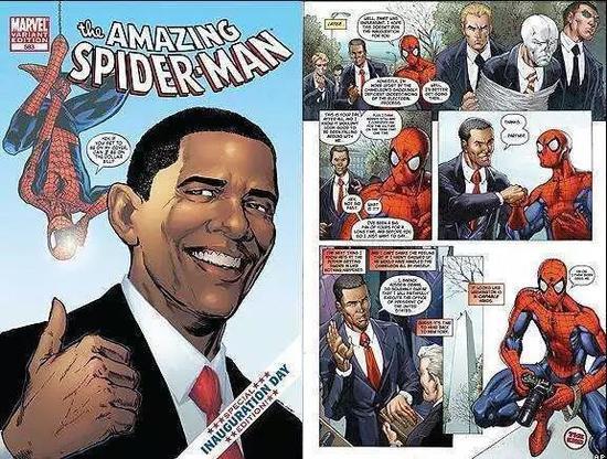 奥巴马与蜘蛛侠击拳碰掌