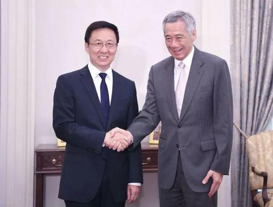 ▲2018年9月21日,韓正會見新加坡總理李顯龍。(新華社)