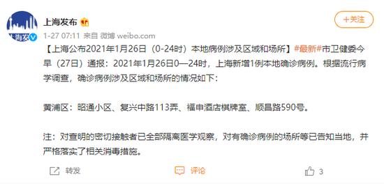 上海公布2021年1月26日(0-24时)本地病例涉及区域和场所图片