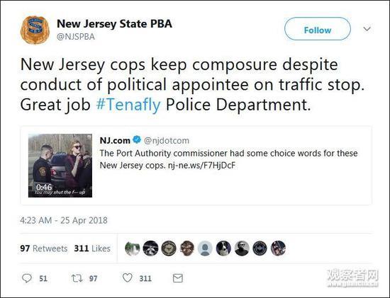 新泽西州警队官方推特