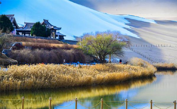 大漠敦煌迎初冬首雪