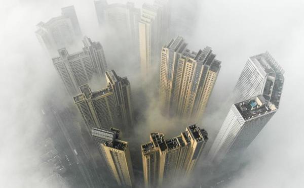 长沙大雾锁城 雾海缥?#23458;?#33509;仙境
