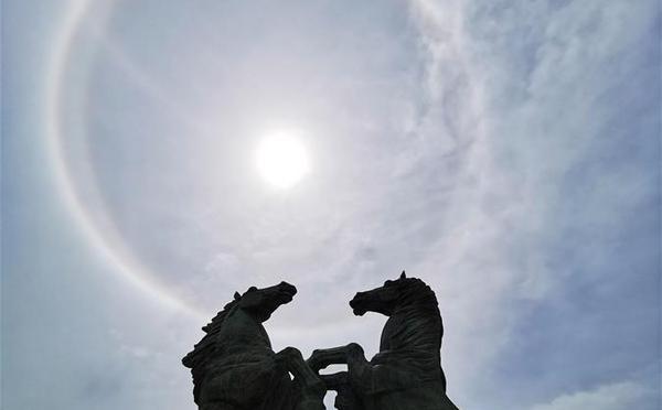 鄂尔多斯出现日晕景观