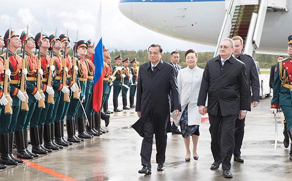 李克强抵达圣彼得堡对俄罗斯进行正式访问
