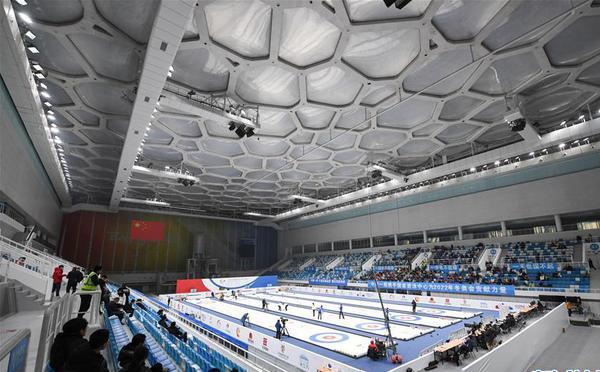 """""""水立方""""变身""""冰立方"""" 迎首场冰壶比赛"""