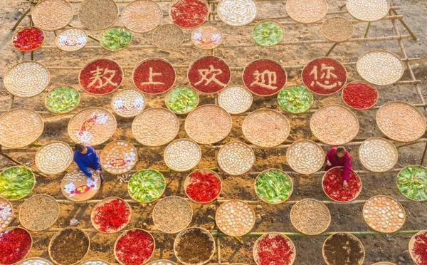 """江西吉安畲族乡村现""""晒冬""""景观"""