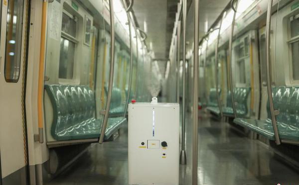 地铁4号线试用智能消毒机器人对车厢消毒