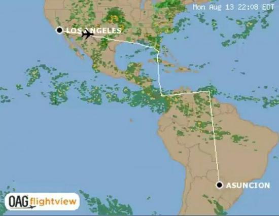 图为航空网站蔡英文专机飞行路径图。(来源:台媒)