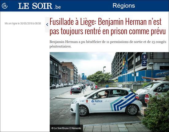 """比利时恐袭嫌犯:刚出狱""""休假"""" 前一天就曾杀人比利时赫尔曼警察"""